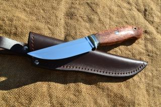 Нож Скандинав 2 - сталь К110, мельхиор, фибра, стабилизированная карельская берёза, мозаичные пины.