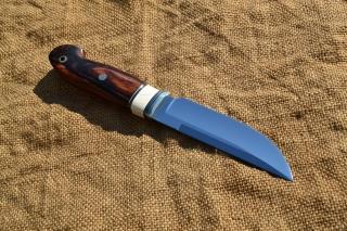 Нож Скандинав - сталь К 110, мельхиор, фибра, бивень мамонта, кокоболо, мозаичный темлячный пин.
