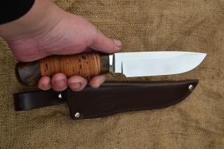 Нож Легионер 2 (вариант 2) - сталь К340, мельхиоровое литьё, корень ореха, береста.