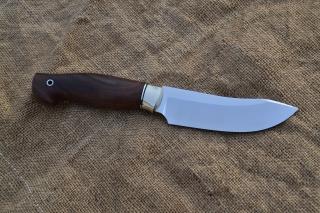 Нож Скинер 2 - сталь К340, мельхиоровое литьё, фибра, корень ореха.