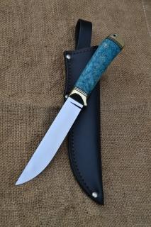 Нож Засапожный 2 - сталь К340, латунь, G10, стабилизированный кап клёна.