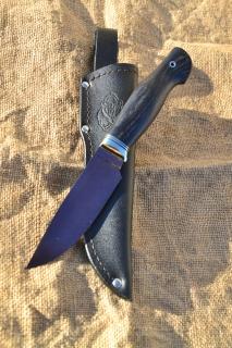 Нож Легионер (вариант 2) - сталь К340, мельхиоровое литьё, G10, морёный дуб.