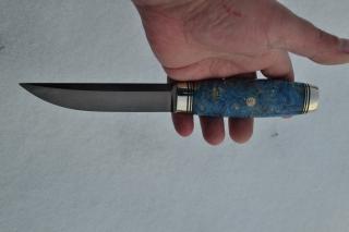 Нож Финка (вариант 3) - сталь К340, G10, стабилизированный кап клёна, мозаичный пин.