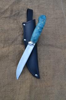Нож Засапожный 2 - сталь К340, нейзильбер, G10, стабилизированный кап клёна.