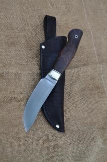 Нож Скинер - сталь PGK, мельхиоровое литьё, G10, корень ореха.