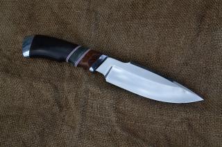 Нож Клык - сталь Х12МФ, дюраль, фибра, лайсвуд, стабилизированная карелка, граб.