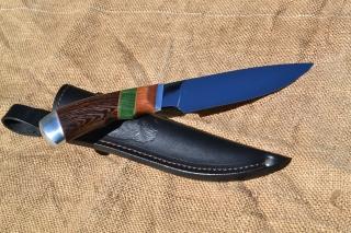 Нож Русь - сталь Х12МФ, дюраль, фибра, лайсвуд, стабилизированная карелка, венге.