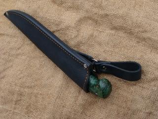 Нож Легионер - сталь D2, мельхиоровое литье, фибра, стабилизированная карельская береза.