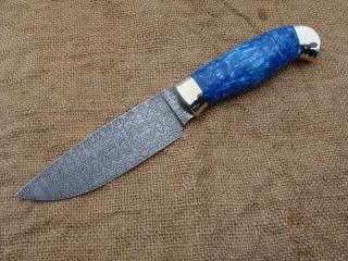 Нож Легионер - дамасская сталь, мельхиоровое литье (гладкое), акриловый композит.
