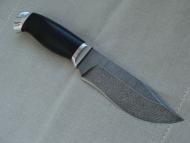 Нож Аскет-дамасская сталь, дюраль, фибра, граб.