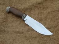 Нож Аскет - сталь Х12МФ, мельхиоровое литьё (косичка), корень ореха.